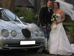 Silvery Blue Jaguar S-Type at a wedding in November 2009