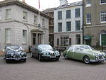 1967 Jaguar Mark 2, modern Jaguar S-Type and 1967 Daimler at a wedding in May 2010