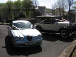 1929 Essex Super Six Challenger and Modern Jaguar S-Type at a wedding in May 2010