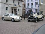 Metallic Gold Jaguar S-Type and 1929 Essex at a wedding in August 2010